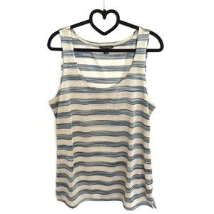 Banana Republic Blue Gold Metallic Striped Tank L